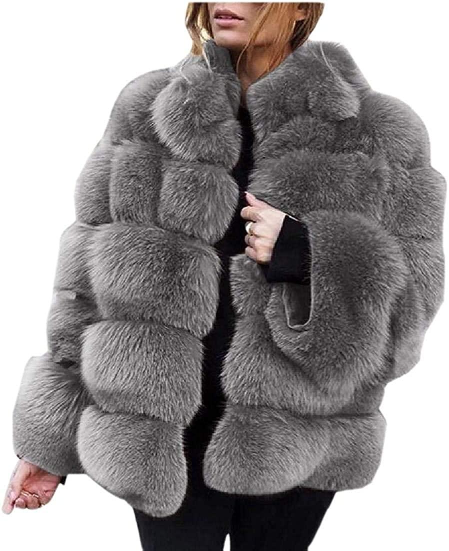 Wndxfhdscd Women Winter Warm Fluffy Faux Fur Short Coat Jackets Parka Outwear