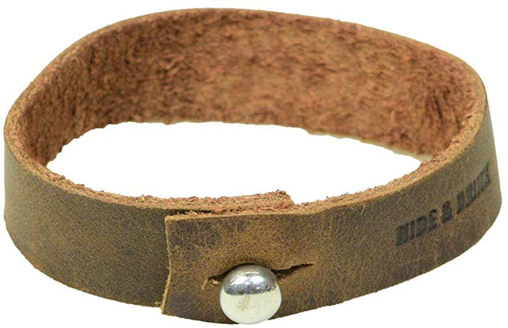 Hide & Drink Soft Leather Bracelet with Rustic Clasp (8-inch Wristband) Handmade Bourbon Brown