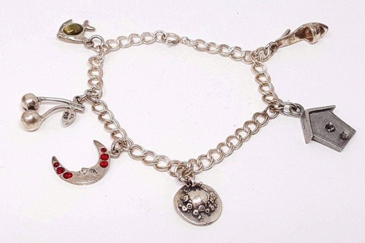 Vintage Sterling Silver Charm Bracelet 6