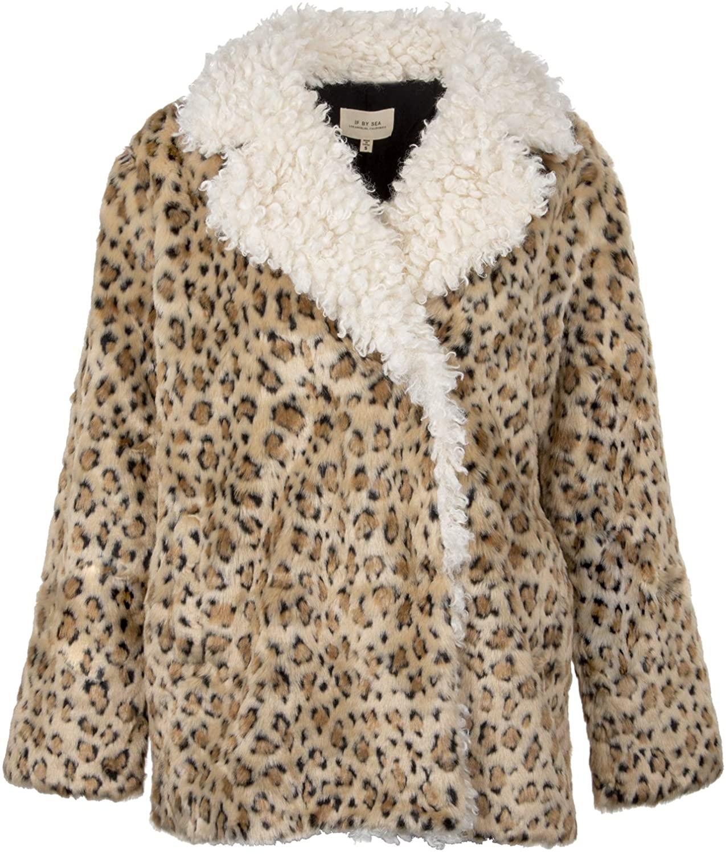 Womens Cheetah Leopard Animal Print Faux Fur Sherpa Coat Jacket
