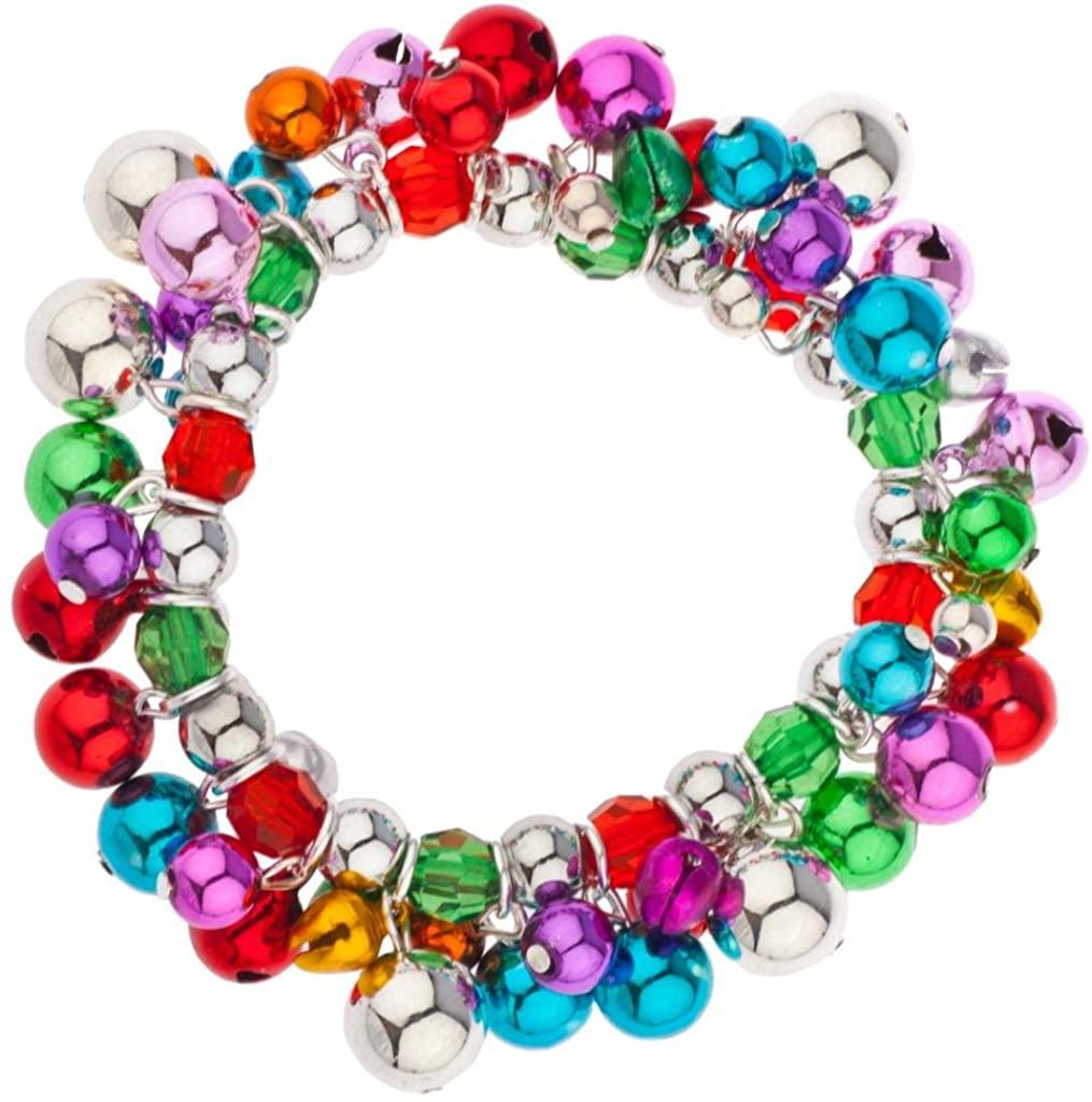 Lux Accessories Multi Color Jingle Balls Christmas Xmas Beaded Bracelet