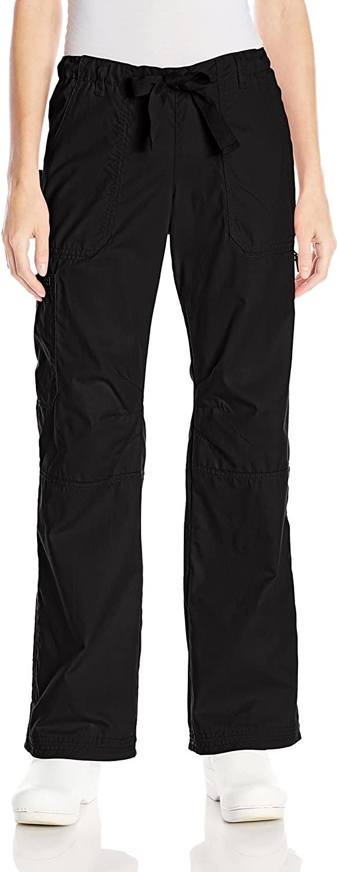 KOI Women's Lindsey Ultra Comfortable Cargo Style Scrub Pants, Black, Small
