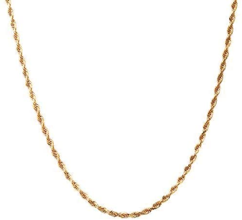 18K Gold 1.5MM Diamond Cut Rope Chain Necklace - Made in Italy -14