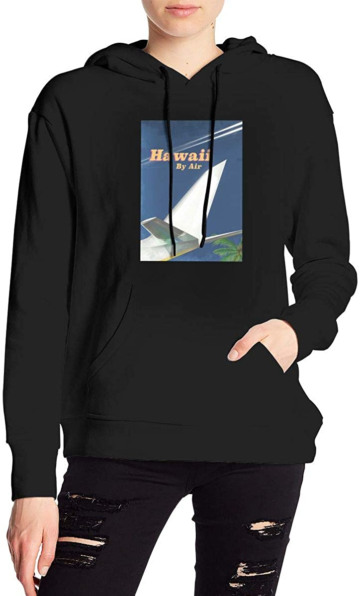 Nbcf Hawaii by Air Travel Women's Long Sleeve Drawstring Pullover Hoodie Pocketed Sweatshirts