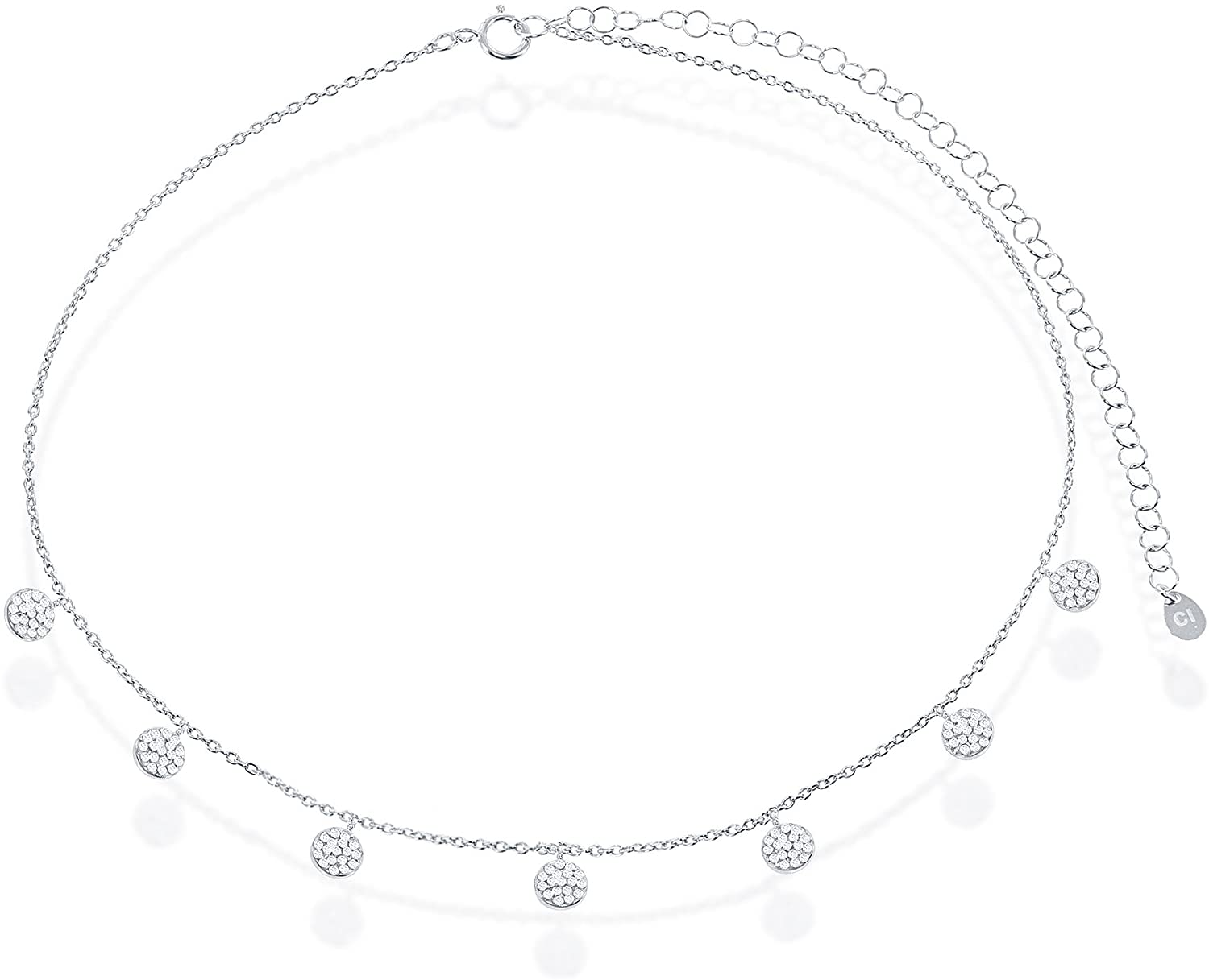 Sterling Silver High Polish Micro Pave Cubic Zirconia Dangling Round Discs 12+4 Choker Necklace