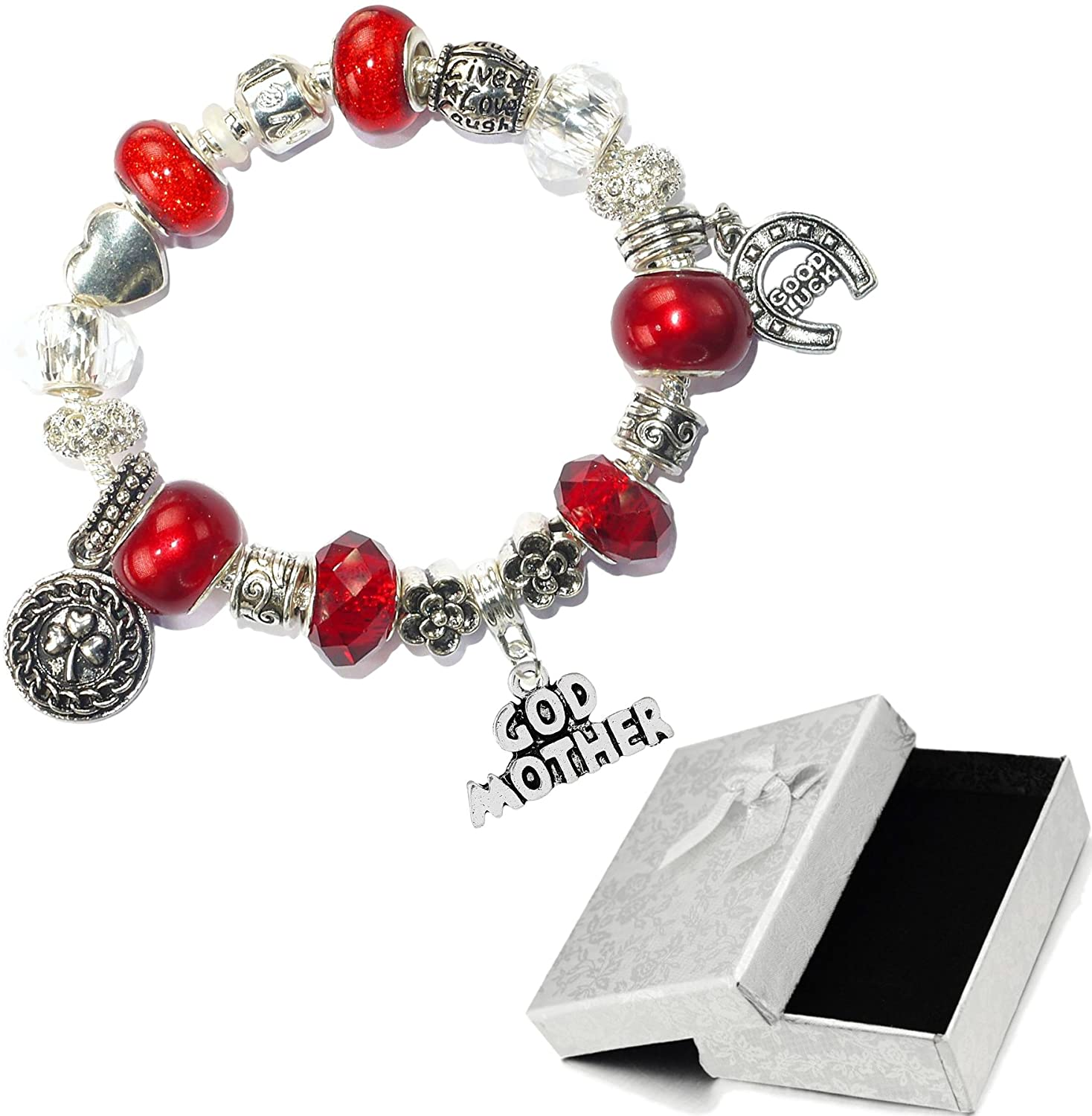 Charm Buddy Special Godmother Red Silver Crystal Good Luck Pandora Style Bracelet With Charms Gift Box