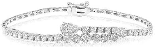 1.60CT DIAMOND 18KT WHITE GOLD 3D ROUND PAVE PEAR SHAPE FUN TENNIS BRACELET