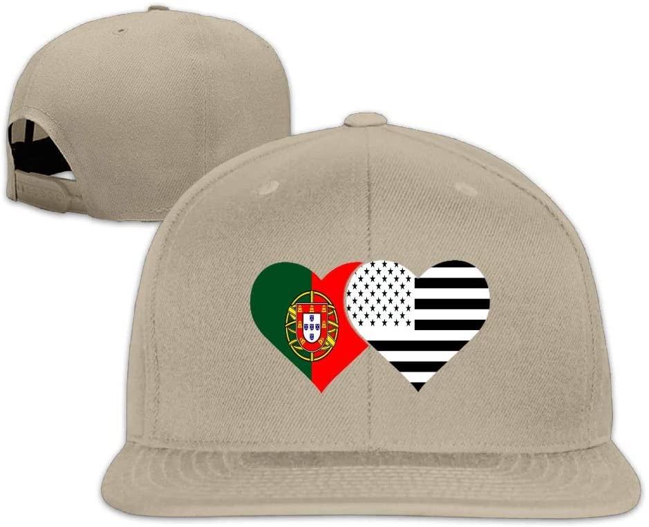 YOIGNG Portugal Flag and American Flag Baseball Caps Grid Hat Adjustable Trucker Cap Bandanas
