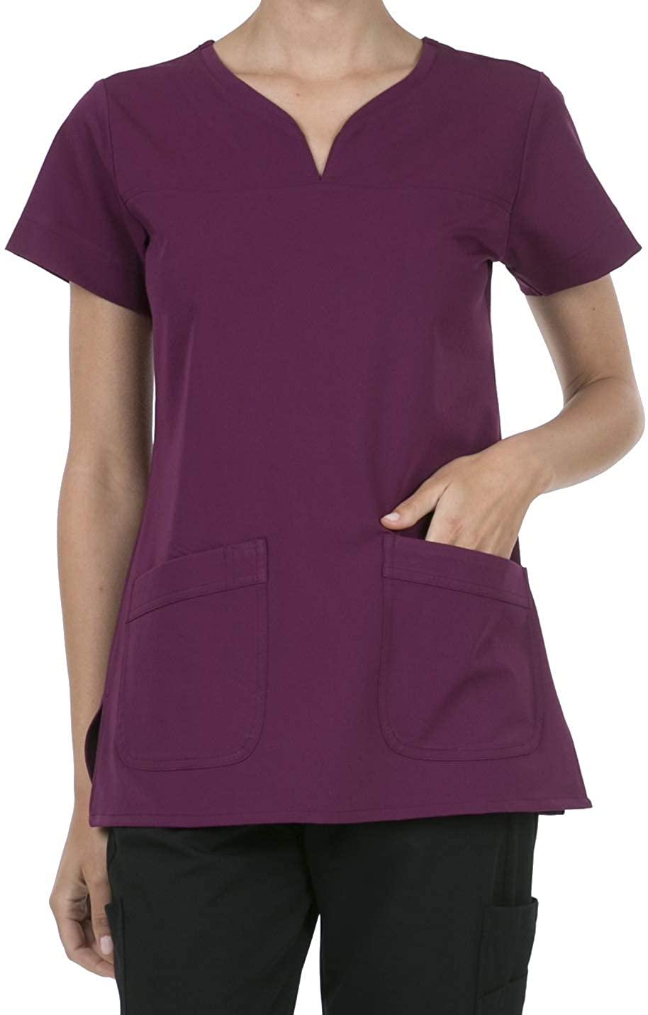 SHOP TIRZAH Women's Uniform Scrubs Medical 2 Pocket Scrub Top, Wine, 3XL_Plus