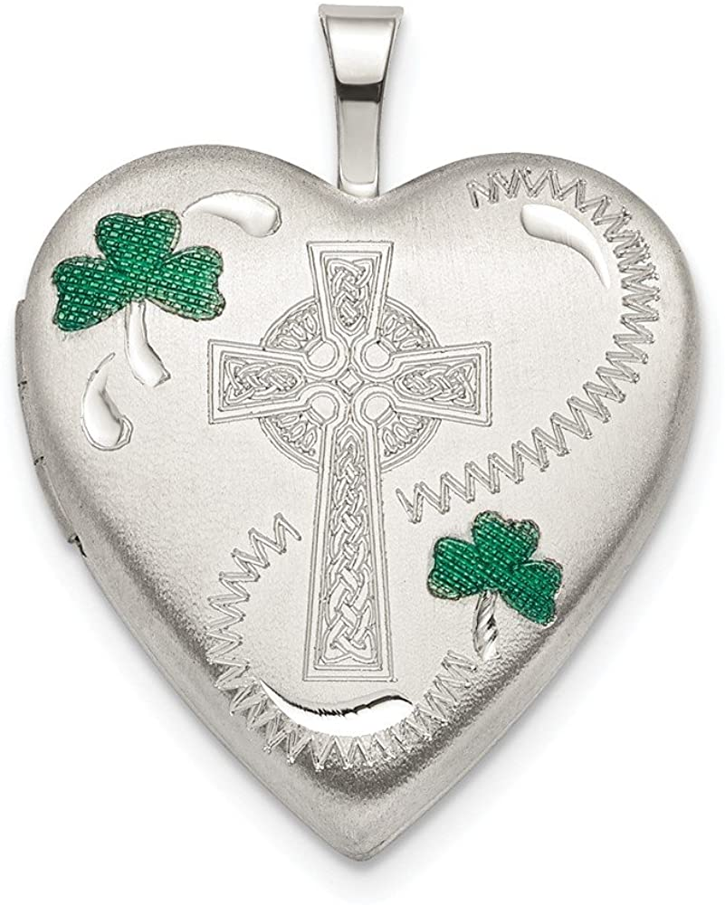 925 Sterling Silver 20mm Green Enamel Clover/cross Heart Photo Pendant Charm Locket Chain Necklace That Holds Pictures Fine Jewelry For Women Gifts For Her