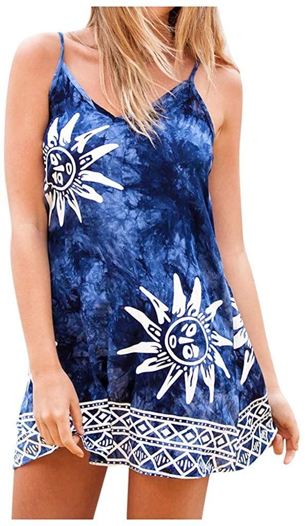 Women's DressTie Dye Ombre Casual Sleeveless Deep Dress Tank Top Casual Maxi Long Dress
