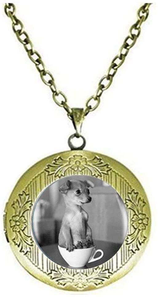 Beautiful Tea Cup Dog Animal Photo Locket Necklace Glass Art Photo Jewelry Beautiful Gift