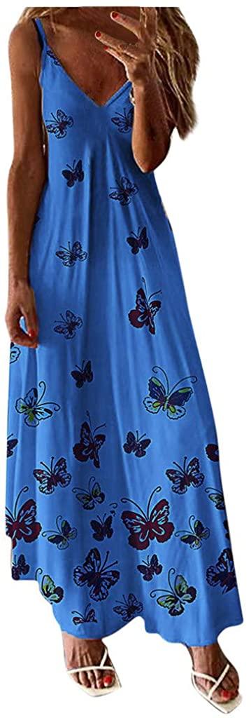 Frunalte Women Butterfly Print Sleeveless Loose Long Dress Bohemian Boho Casual Beach Maxi Dresses Sundress Plus Size