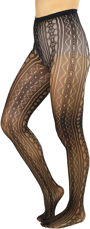 ToBeInstyle Women's Sexy Unique Hidden Jewels Fishnet Pantyhose