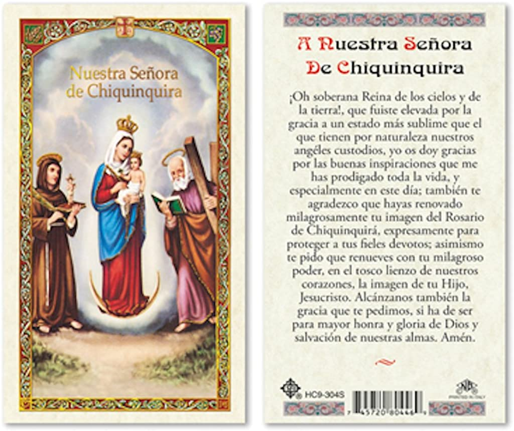 SPANISH SRA CHIQUINQUIRA LAMINATED PRAYER CARDS - 25/PKG