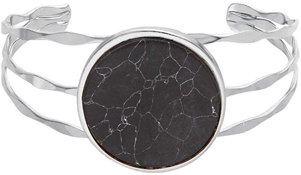 MANZHEN 3 Colors Geometric Round Black Onyx Marbled Wide Bangle Open Cuff Natural Stone Bangle Bracelets