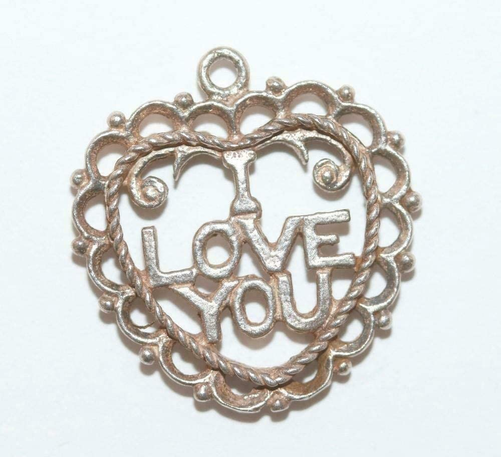 I Love You Heart Sterling Silver 925 Vintage Bracelet Charm CS-1747
