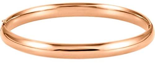 14K Rose Gold 6.5 mm Hinged Bangle Bracelet Hinged Bangle Bracelet
