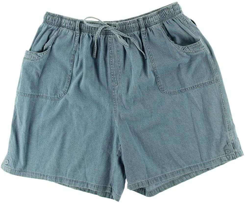 Karen Scott Womens Petites Denim Comfort Waist Casual Shorts 0X Horizon Wash