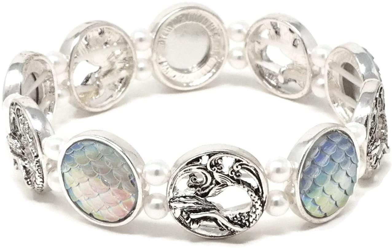 Elosee Sealife Mermaid Theme Fish Skin Pearl Double Stretch Bracelet