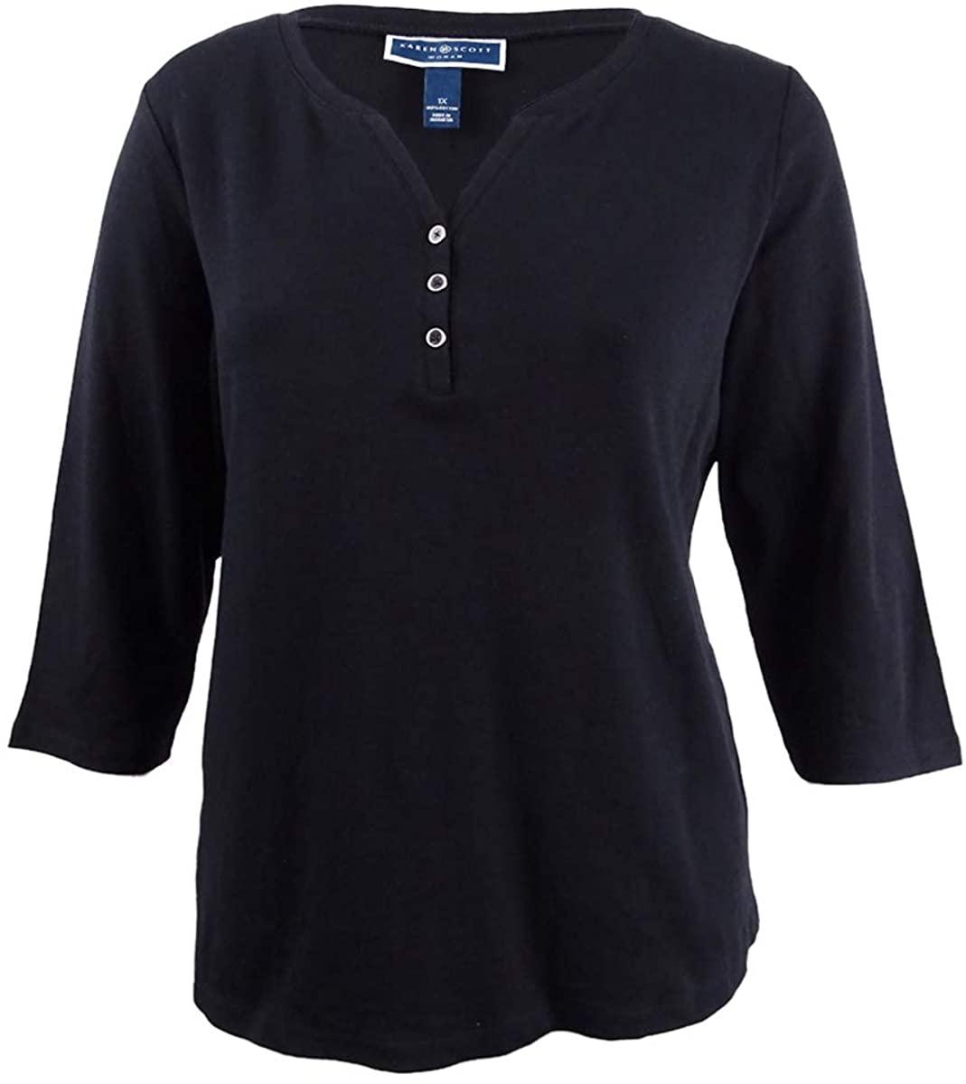 Karen Scott Womens Plus Three-Quarter Sleeves Solid Pullover Top