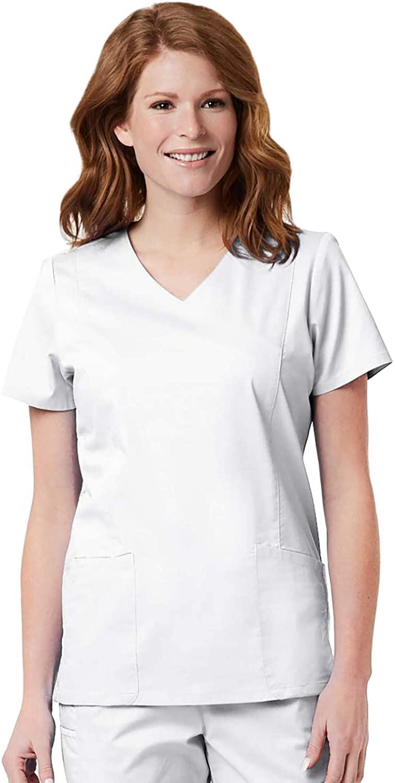 Maevn Women's Blossom Signature Ladies Mesh Pocket Mock Wrap Top(White, XX-Large)