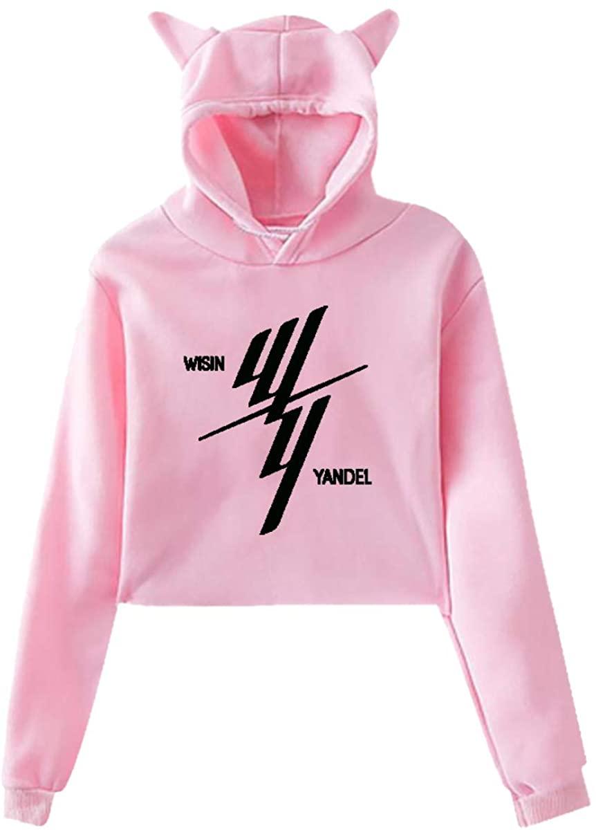 Women's Cat Ear Hoodie Sweater Sweatshirt Wisin Yandel Original Minimalist Style Pink