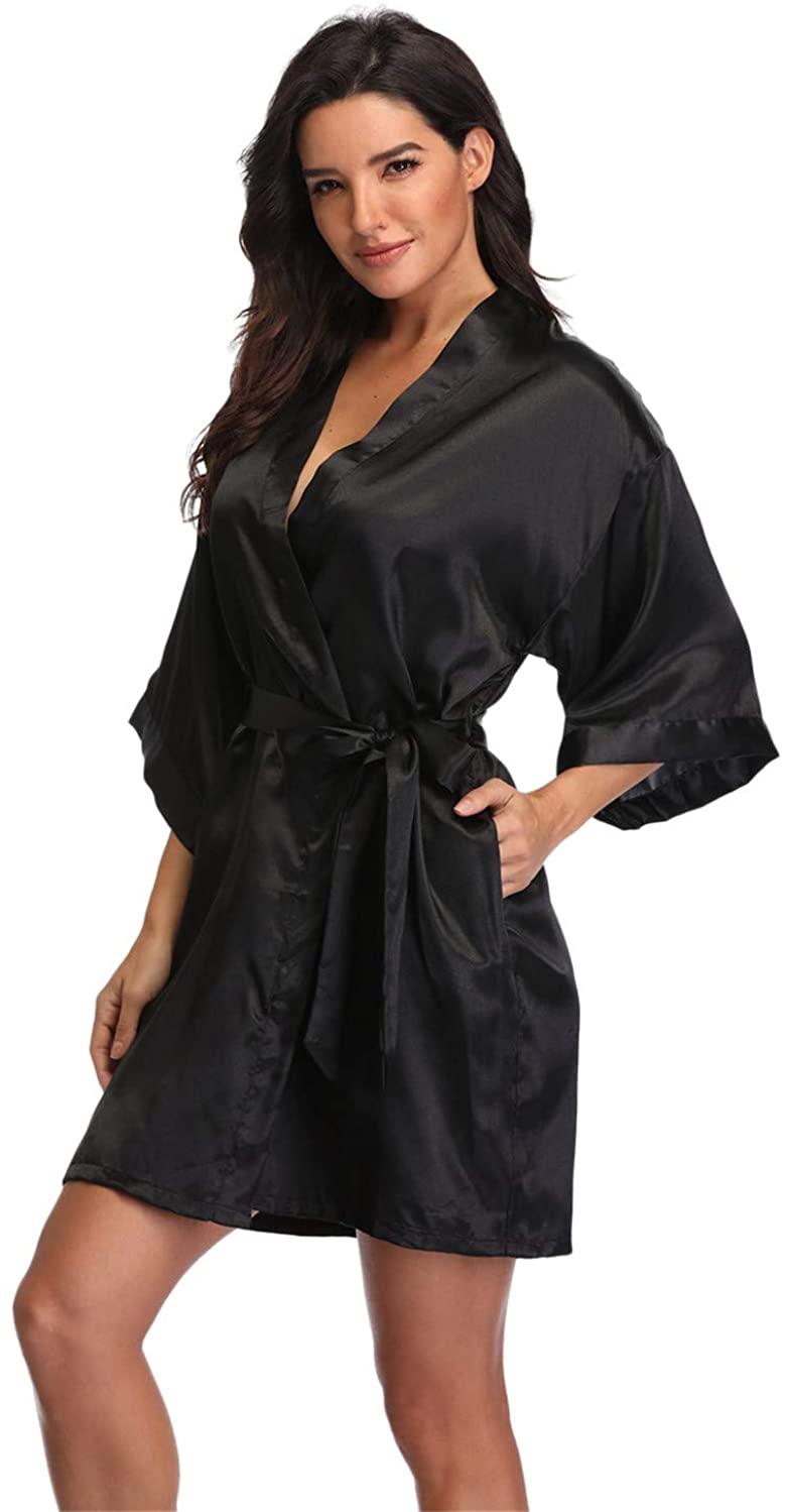 Women's Pure Short Silky Robes Bridesmaid Bride Party Satin Robes Sleepwear