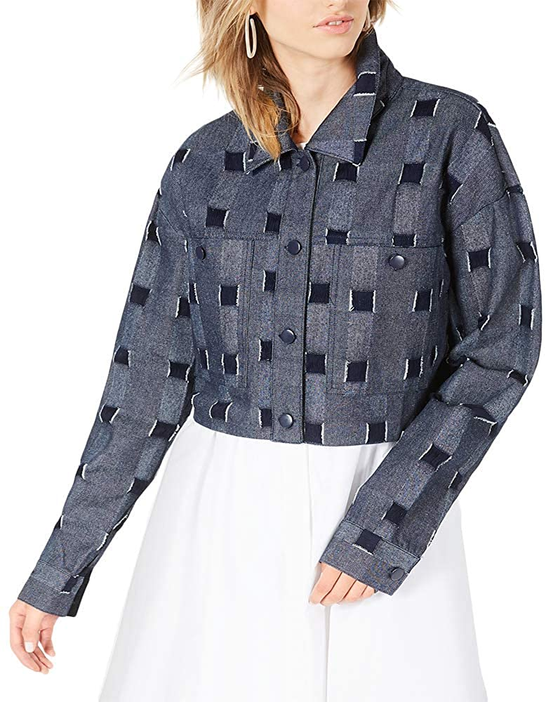 Line & Dot Cropped Checkered Jacket Blue Medium
