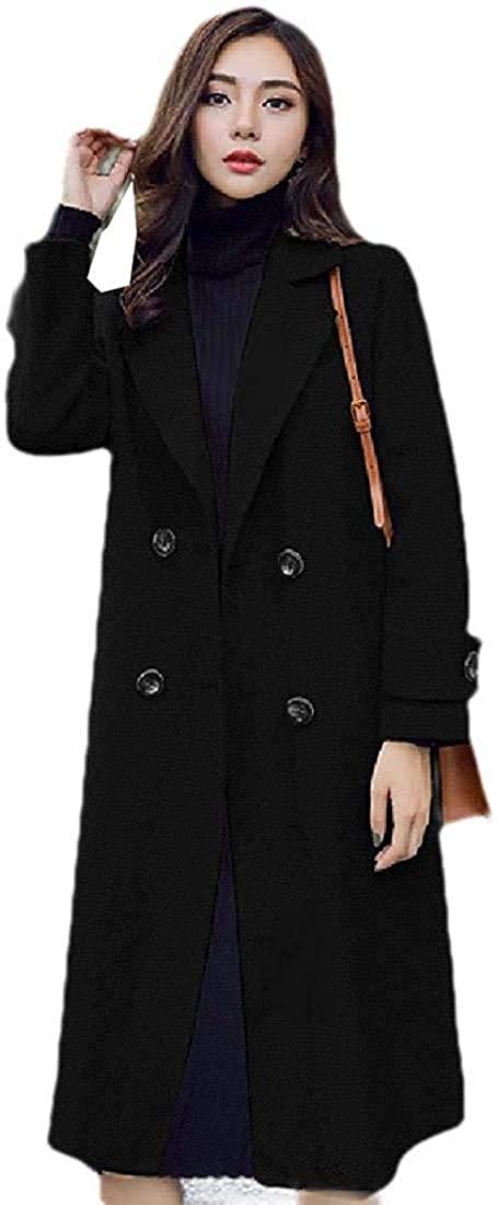 Women Longline Double-Breasted Elegant Loose Lapel Top Coat Jacket