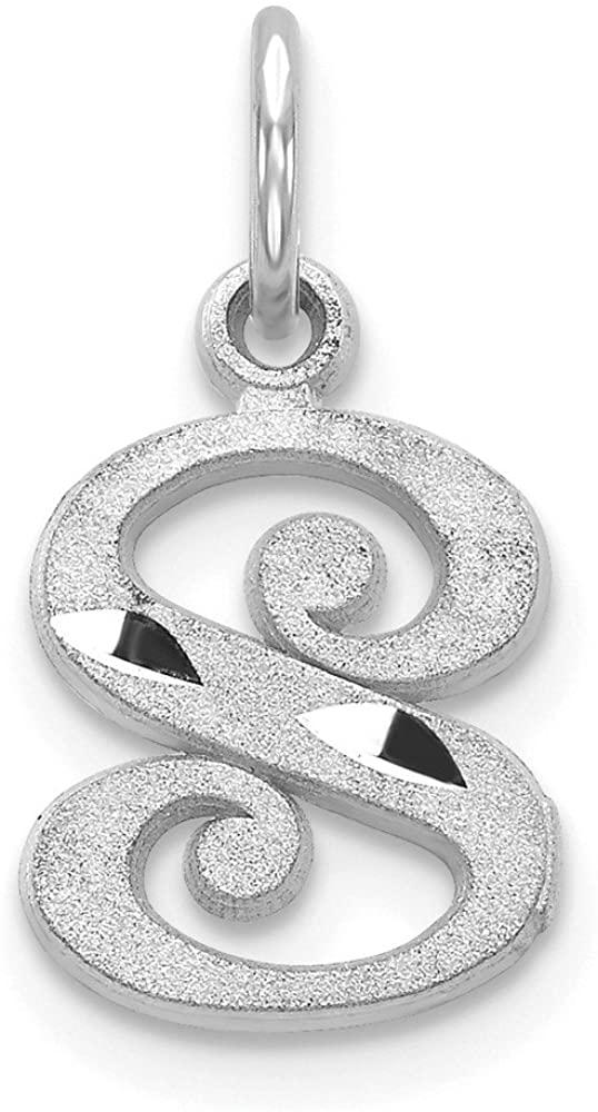 14k White Gold Diamond-cut Initial S Charm