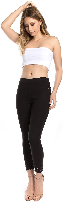 Women's Pull On Elastic Waist Ripped/Cut/Criss Cross Cut Out/Embellished Leggings Pants