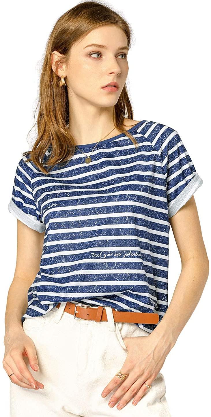 Allegra K Womens Stripe Slogan Letter Floral Print Top Short Raglan Sleeve T-Shirt