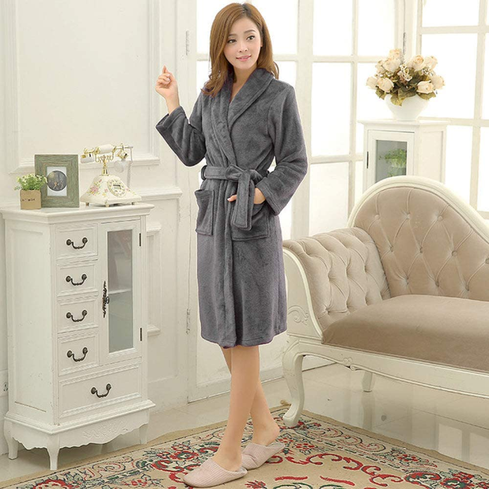 llwannr Bathrobe Robe Nightgown Sleep,Men Women Luxury Winter Bathrobe Mens Warm Silk Flannel Long Kimono Bath Robe Male Bathrobes Lovers Night Dressing Gown,Women Gray,XXL