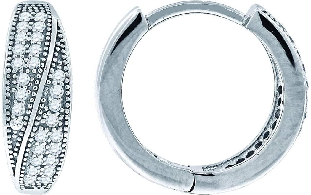 925 Sterling Silver CZ Cubic Zirconia Simulated Diamond Womens Huggie Hoop Earrings Jewelry Gifts for Women