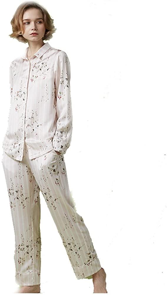 Floral and Stripe Print Women's Pajama Set,Long Sleeve Sleepwear Silk Pajama Long Button Down Loungewear with Pants