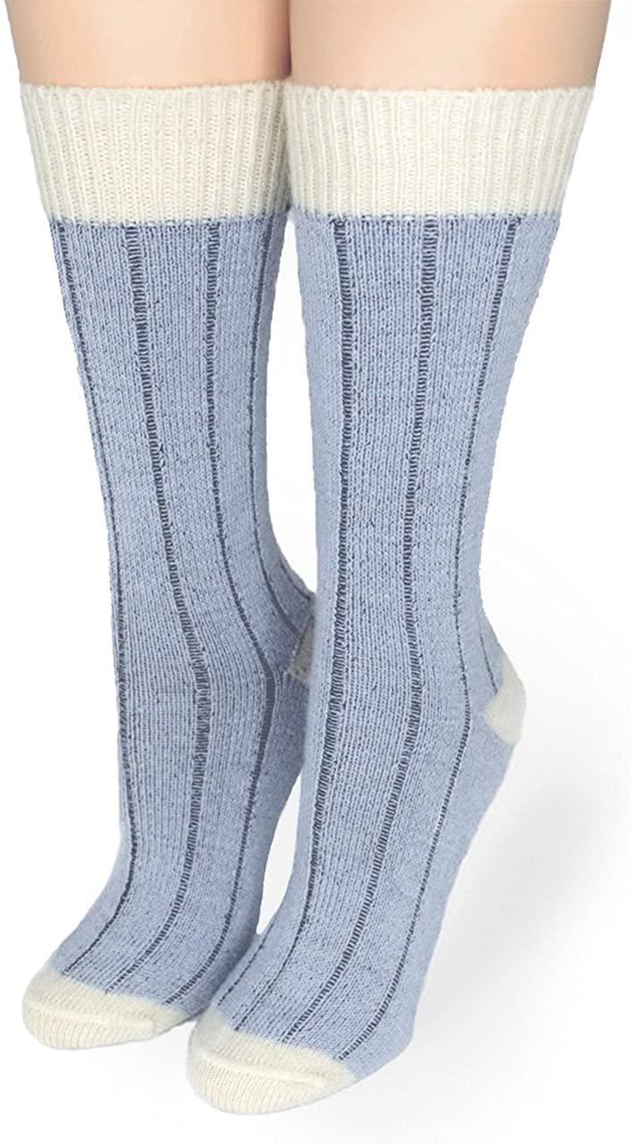 Warrior Alpaca Socks - Women's Two Color Baby Alpaca Wool Wide Ribbed Comfort/Bed Socks - Color Block
