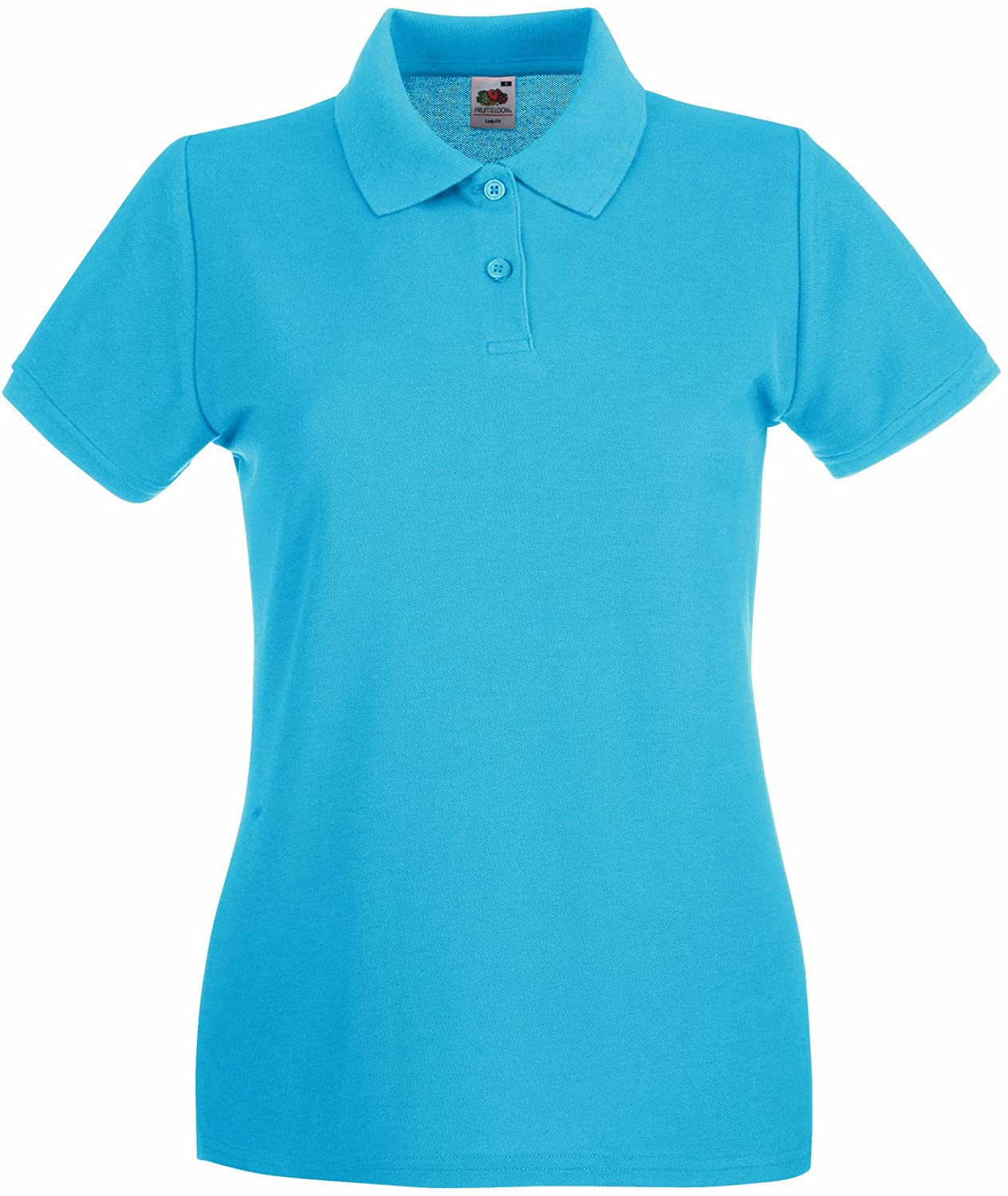 Fruit of the Loom Ladies Lady-Fit Premium Short Sleeve Polo Shirt (S) (Azure Blue)