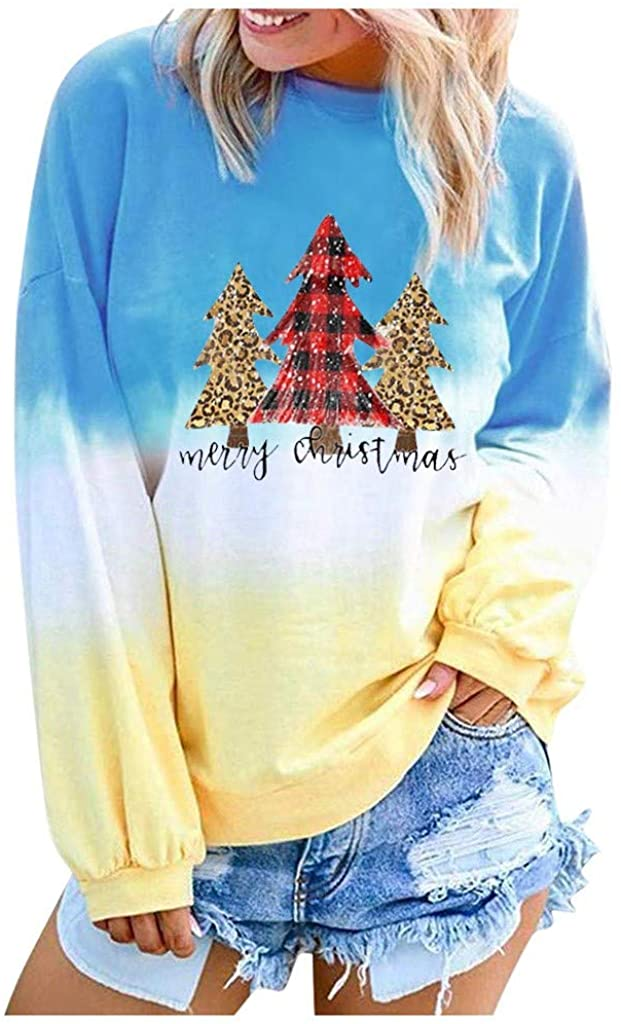 Women Long Sleeve Sweatshirt Christmas Colorblock Tie Dye Printed Pullover Oversize Shirt Tunic Tops