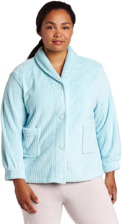 Casual Moments Women's Plus Size Shawl Collar Bed Jacket, Aqua, 3XL