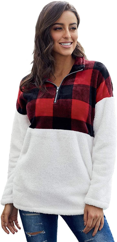 Ouregrace Womens Zip Neck Oversized Color Block Fleece Sweatshirt Pullover Top Outwear (S-XXL)