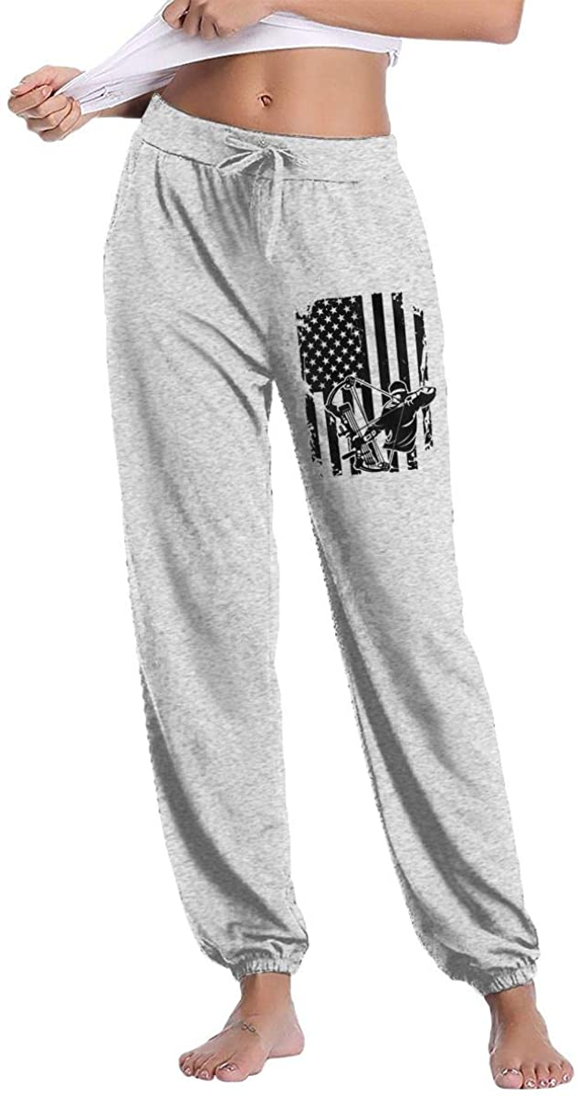 Futong Huaxia Women's Casual Sweatpants Bow Hunting American Flag Fitness Training Jogger Pant