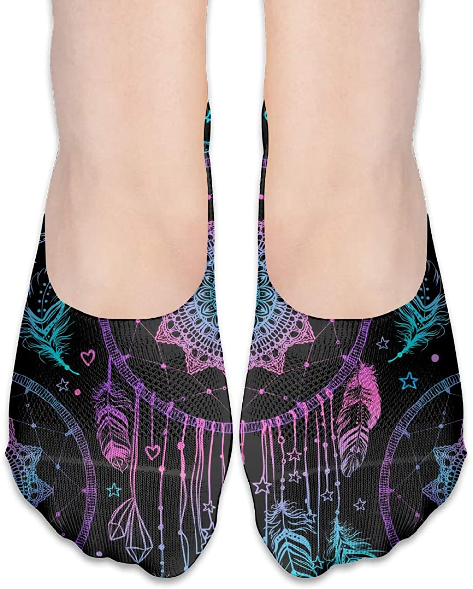 No Show Socks For Women Indian Talisman Dreamcatcher Feathers Low Cut Sock Liners Invisible Socks