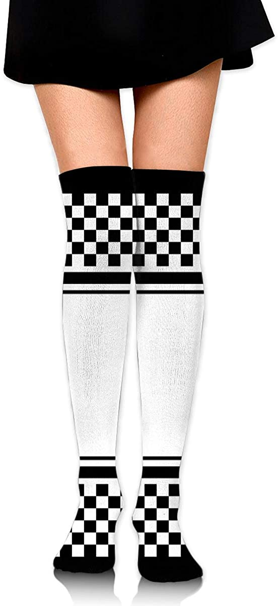 Dress Socks Checkered Racing Flags Roads Long Knee Hose Casual Hold-Up Stockings