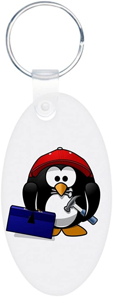 Aluminum Oval Keychain (2-Sided) Little Round Penguin - Handy Man Construction Builder