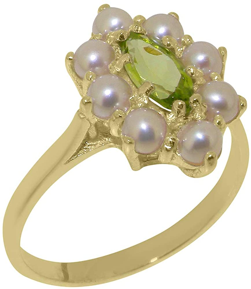 Solid 9k Yellow Gold Natural Peridot & Cultured Pearl Womens Cluster Ring - Sizes 4 to 12 Available