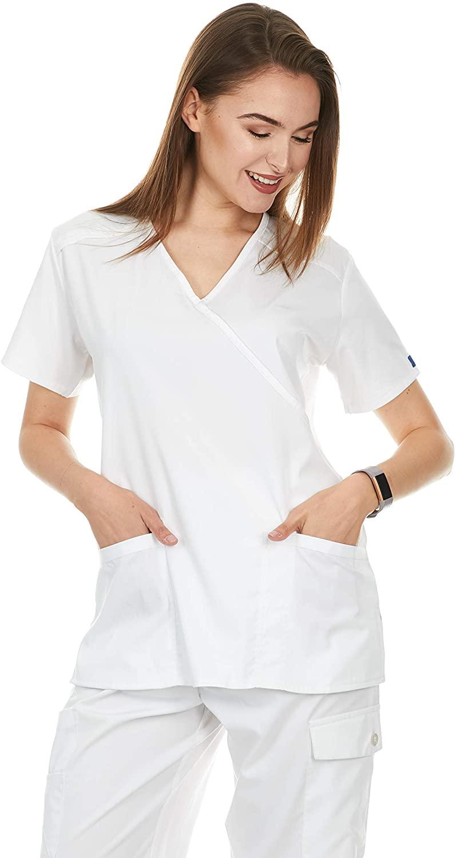 Womens Mock Wrap Medical Scrub Tops (UFT114) (White, Medium)