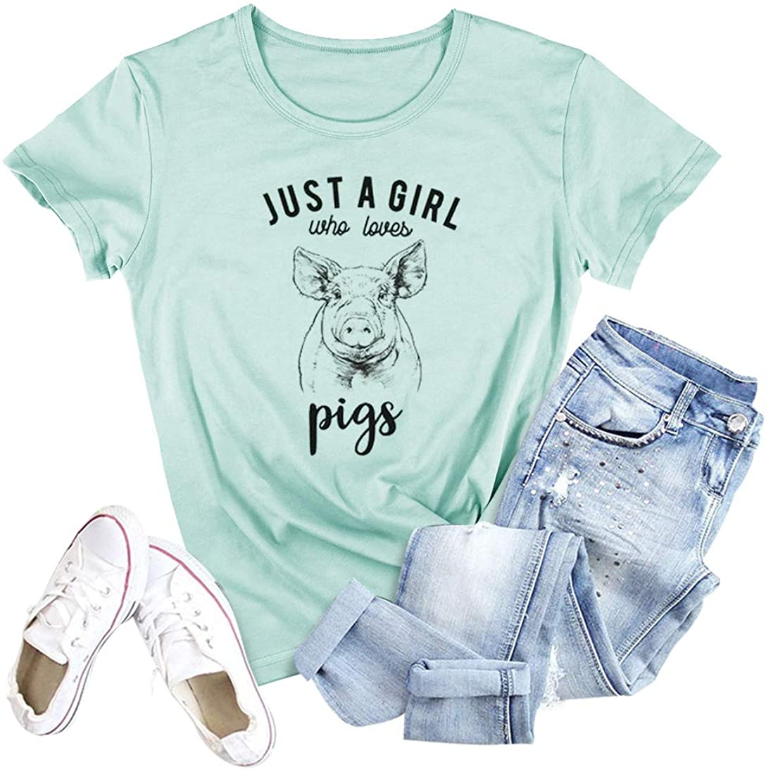 Just A Girl Who Loves Pigs Letter Print T-Shirts Women Funny Cute Graphic Casual Tee Tops