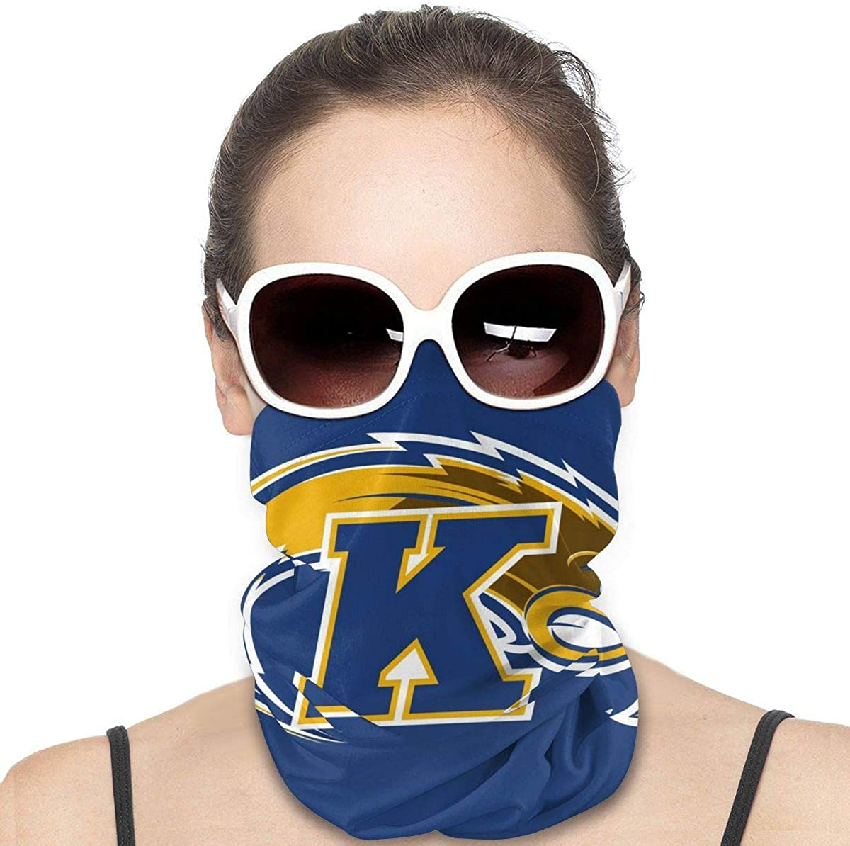 Neck Gaiter Kent State Golden Flashes Face Mask Reusable Cloth Face Cover Washable Bandana, Sun Dust Protection Balaclava Scarf Shield for Fishing Cycling