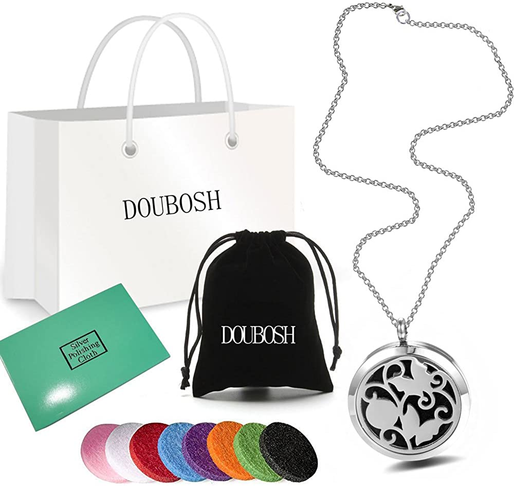 Doubosh Aromatherapy Essential Oil Diffuser Locket Necklace Free Chains Pads Stainless Steel Gift Set